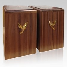 Two Doves Walnut Companion Urn