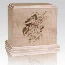 Angel & Child Wood Cremation Urn