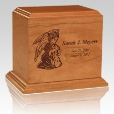 Personalized Angel Wood Children Infant Cremation Urn