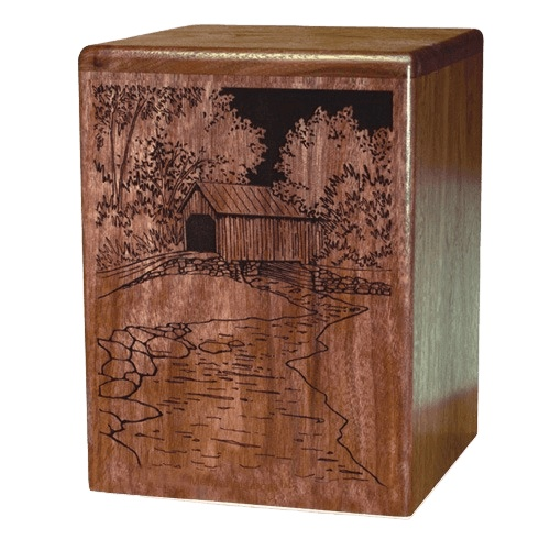 Covered Bridge Walnut Wood Cremation Urn