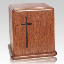 Cross Mahogany Cremation Urn