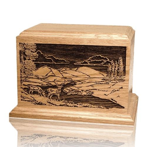 Deer Scene Oak Wood Cremation Urn