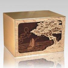 Seascape Oak & Bronze Cremation Urn