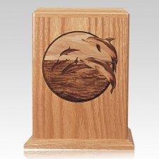 Dolphin Oak Wood Cremation Urn