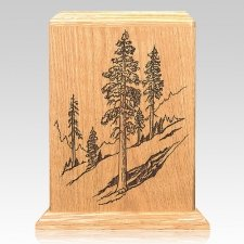 Evergreen Oak Wood Cremation Urn