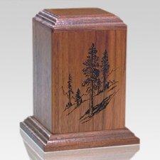 Evergreen Walnut Keepsake Cremation Urn