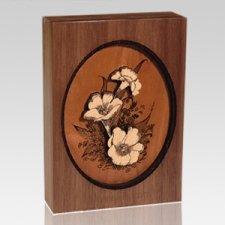 Floral Walnut Wood Keepsake Cremation Urn