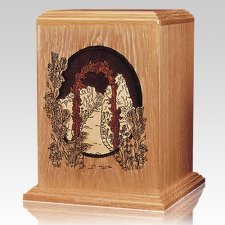 Garden Walkway Oak Wood Cremation Urn