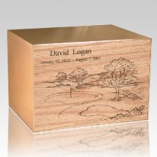 Golf Personalized Oak & Bronze Cremation Urn