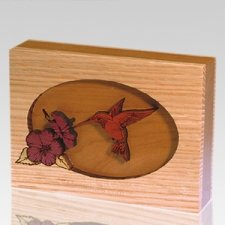 Hummingbird Oak Keepsake Cremation Urn