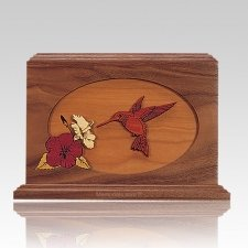 Hummingbird Walnut Wood Cremation Urn
