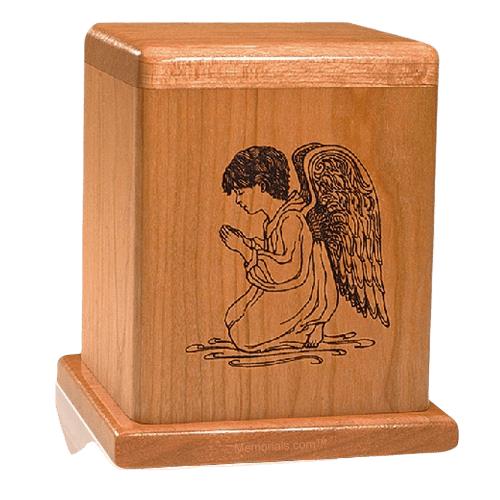 Praying Angel Wood Children Infant Cremation Urn