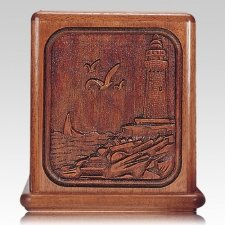 Lighthouse Mahogany Cremation Urn