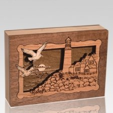 Lighthouse Walnut Keepsake Cremation Urn
