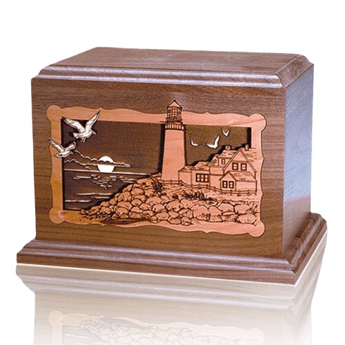 Lighthouse At Night Walnut Wood Cremation Urn