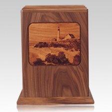Lighthouse Walnut Wood Cremation Urn