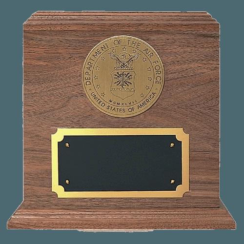 Military Bronze & Walnut Wood Urn