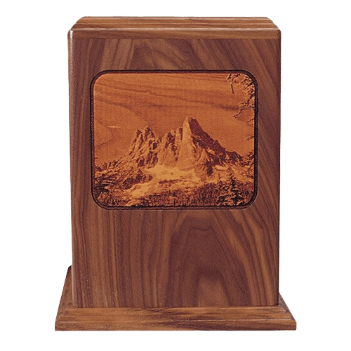 Mountains Walnut Wood Cremation Urn