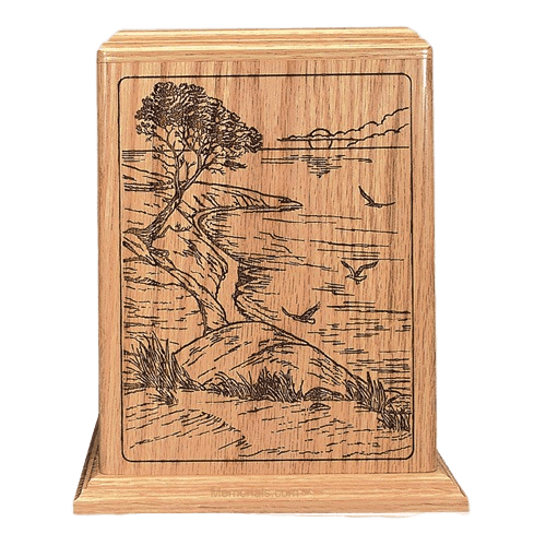 Ocean Sunrise Oak Wood Cremation Urn