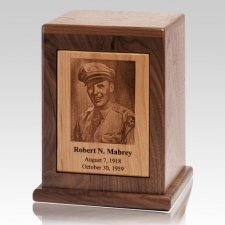 Modern Photo Wood Cremation Urn