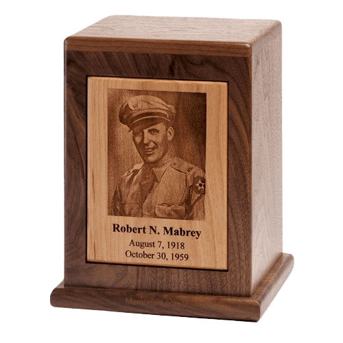 Modern Photo Wood Cremation Urn