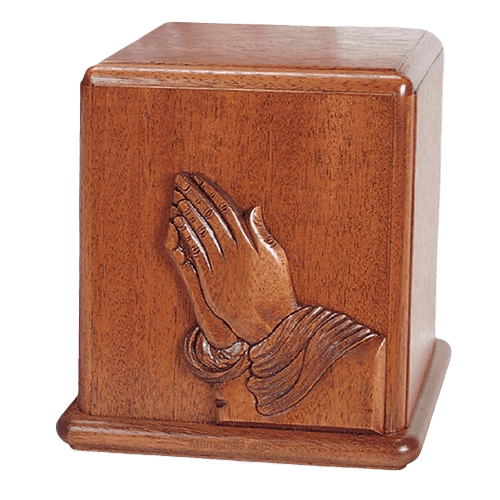 Praying Hands Mahogany Cremation Urn
