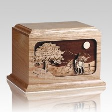 Horse Rider Oak Wood Cremation Urn