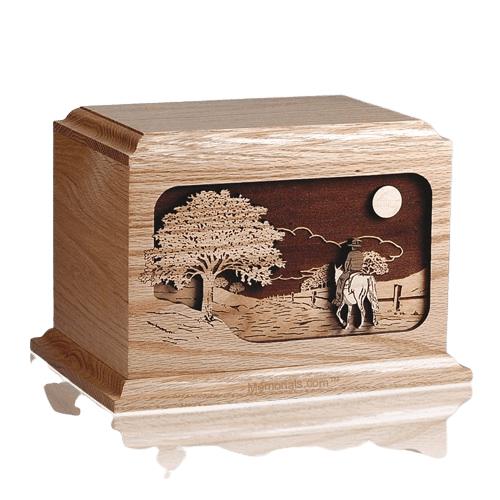 Horse Rider Oak Wood Cremation Urn