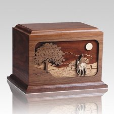 Horse Rider Walnut Wood Cremation Urn