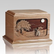 Motorcycle Rider Oak Wood Cremation Urn