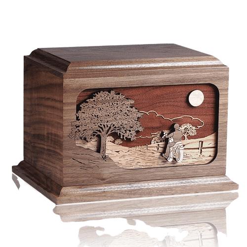 Motorcycle Rider Walnut Wood Cremation Urn
