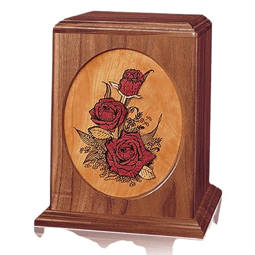 Rose Bouquet Walnut Wood Urn