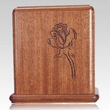 Rose Stem Mahogany Cremation Urn