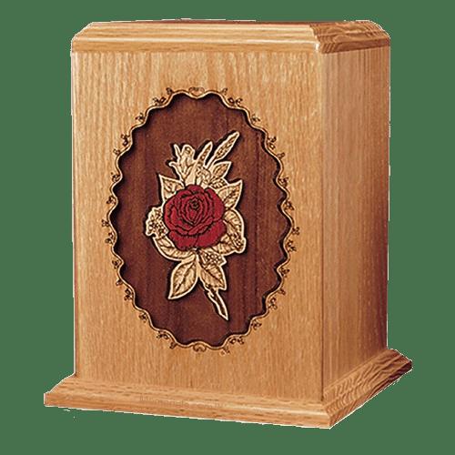 Rose Oak Wood Cremation Urn