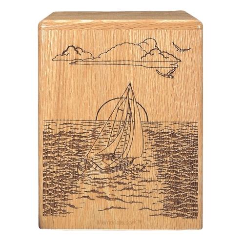 Sailing Oak Wood Cremation Urn