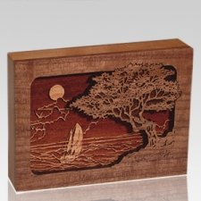 Seascape Walnut Keepsake Cremation Urn