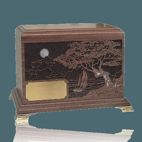 Seascape Inlay Walnut Wood Cremation Urn