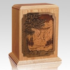 Waterfall Oak Wood Cremation Urn