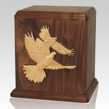 Love Birds Walnut Cremation Urn For Two
