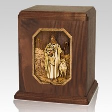 Jesus is Guiding Me Walnut Companion Urn
