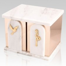 White Cloud Marble Companion Urn