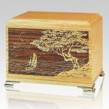 Seascape Oak Wood Cremation Urns