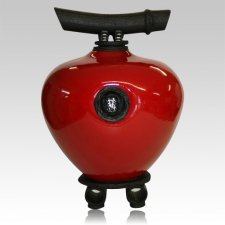 Raku Red Wish Keeper Double Urn