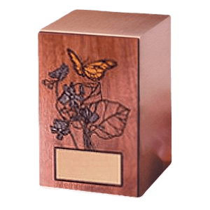 Butterfly Walnut Panel Wood Cremation Urn