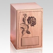 Rose Oak Panel Wood Cremation Urn