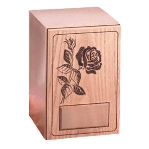 Rose Oak Wood Urn