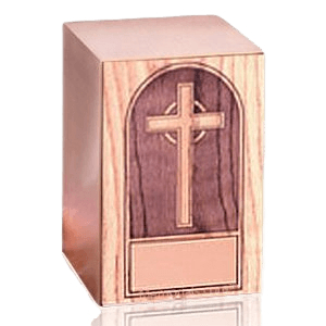 Cross Oak Panel Wood Cremation Urn