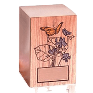 Butterfly Oak Panel Wood Cremation Urn