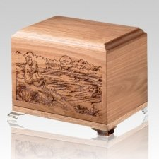 Sunset Oak Wood Cremation Urn