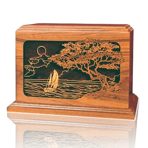 Seascape Wood Cremation Urn